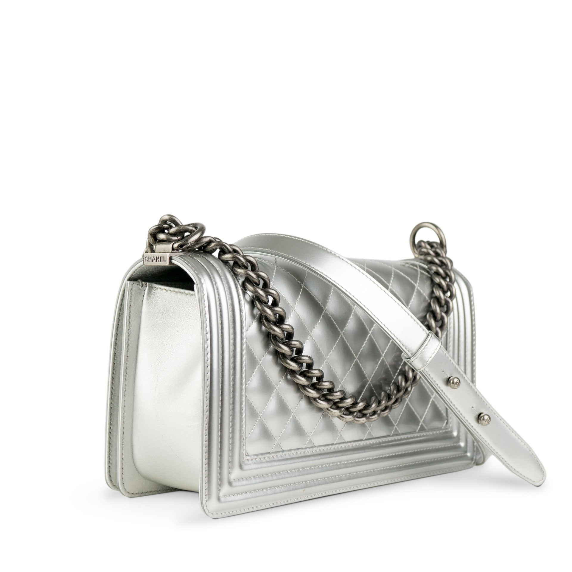 Chanel Silver Metallic Patent Boy Bag