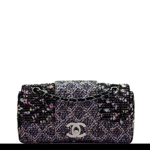 Chanel Charcoal Grey Confetti Fantasy Tweed Classic Flap