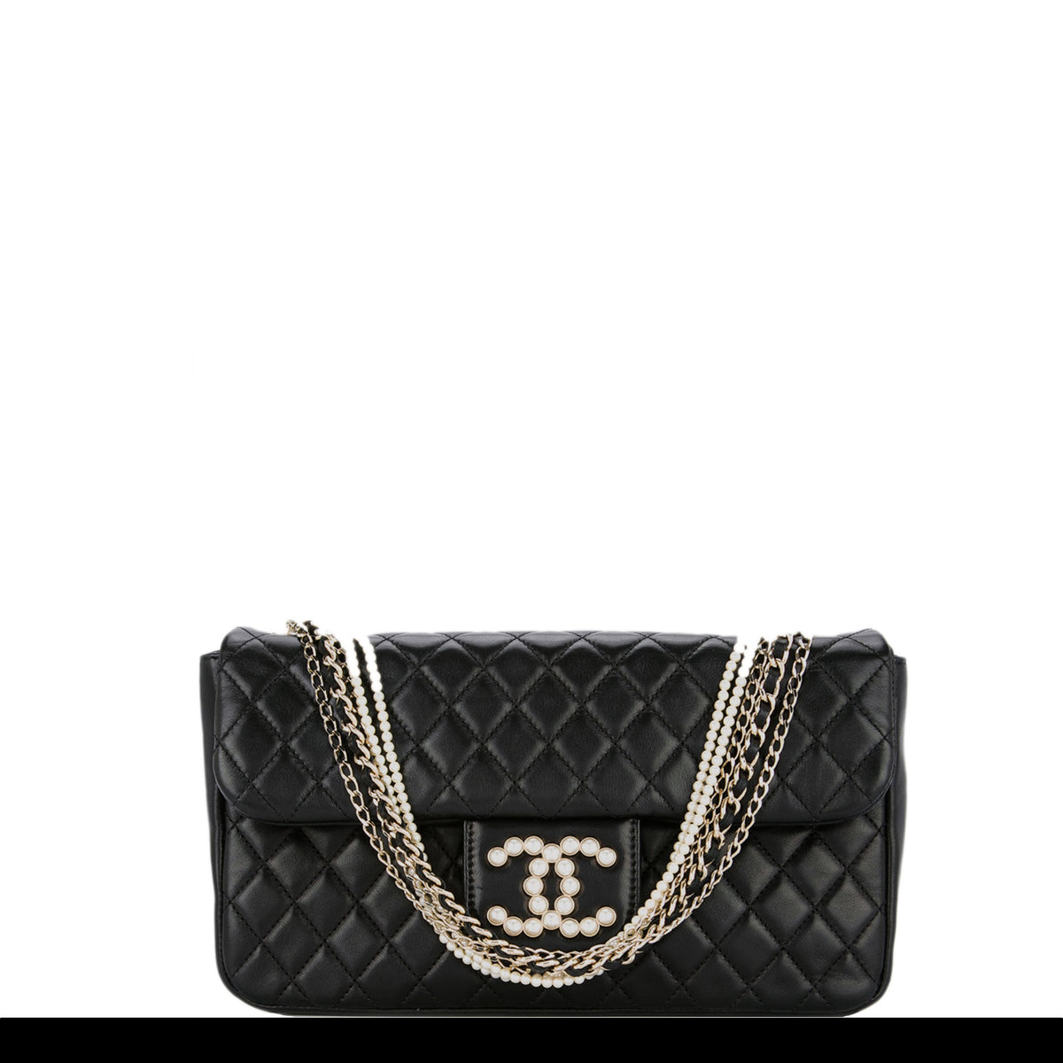 4fefefaf3142c1 Chanel Lambskin Diamond Stitch Pearl Chain Handle Classic Flap – House of  Carver