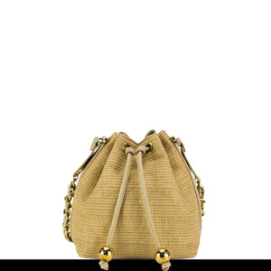 Chanel Straw Woven Vintage Bucket Bag