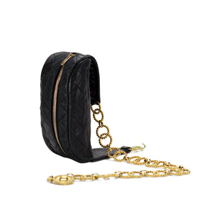 Chanel Black Lamb Quilted Medallion Fanny