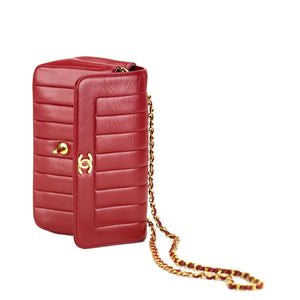 Chanel Red Vintage Lambskin Lady Diana Classic Flap