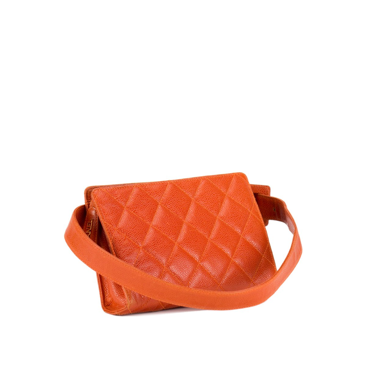 Chanel Orange Caviar Quilted Fanny