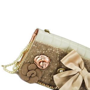 Chanel Tweed Camelia Flap