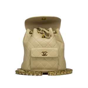 Chanel Beige Quilted Lambskin Vintage Backpack