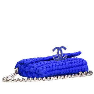 Chanel Blue Crochet Woven Classic Cruise Flap