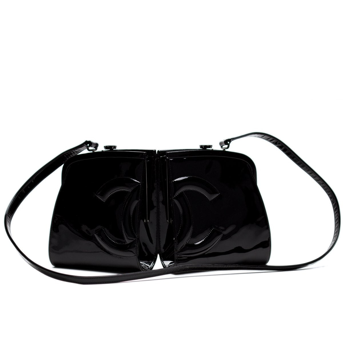 Chanel Runway Split Frame Patent Crossbody Tote
