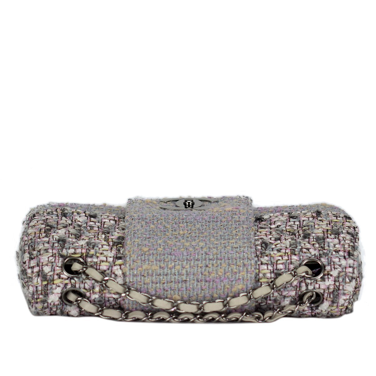 Chanel Grey Periwinkle Confetti Classic Tweed Flap