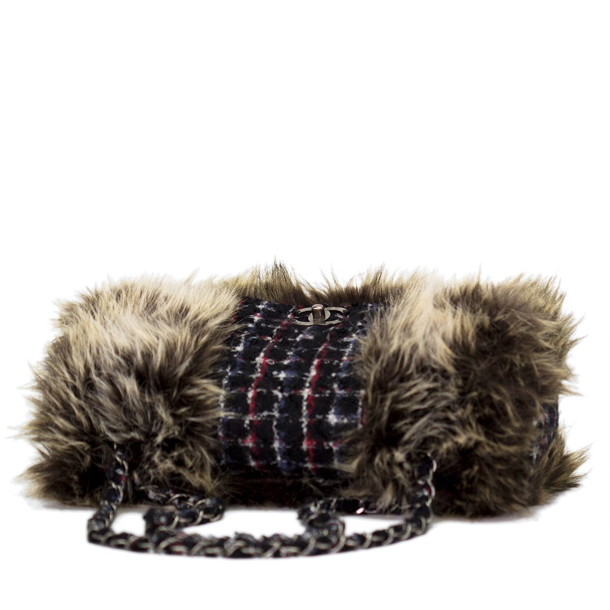 Chanel Faux Fur Tweed Jumbo Flap