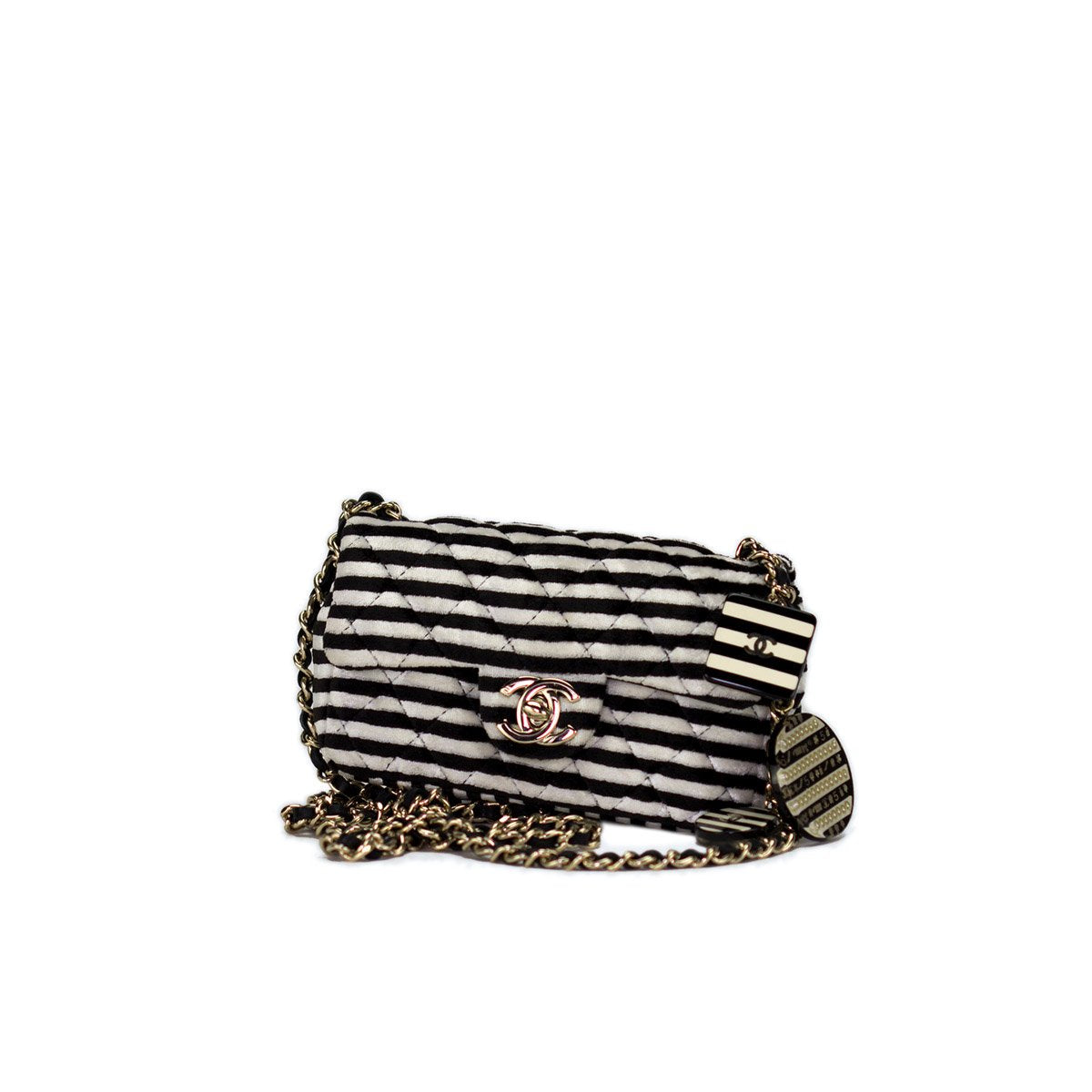Chanel Striped Mini Charm Flap