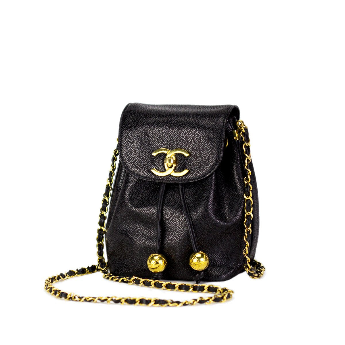 Chanel Caviar Gold Ball Classic Crossbody Flap