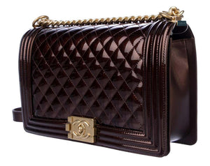 Chanel Limited Edition Metallic Bronze Large Brown Gold Boy Bag Rare