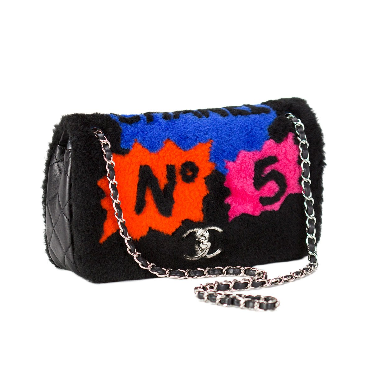 Chanel Pop Art Shearling Lamb Flap