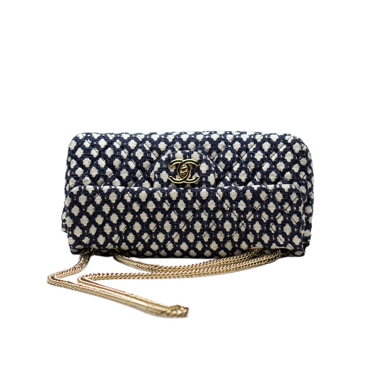 Chanel Navy Vintage Blue and White Tweed Cotton Flap