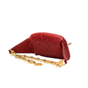 Chanel Red Lamb Quilted Medallion Fanny Pack