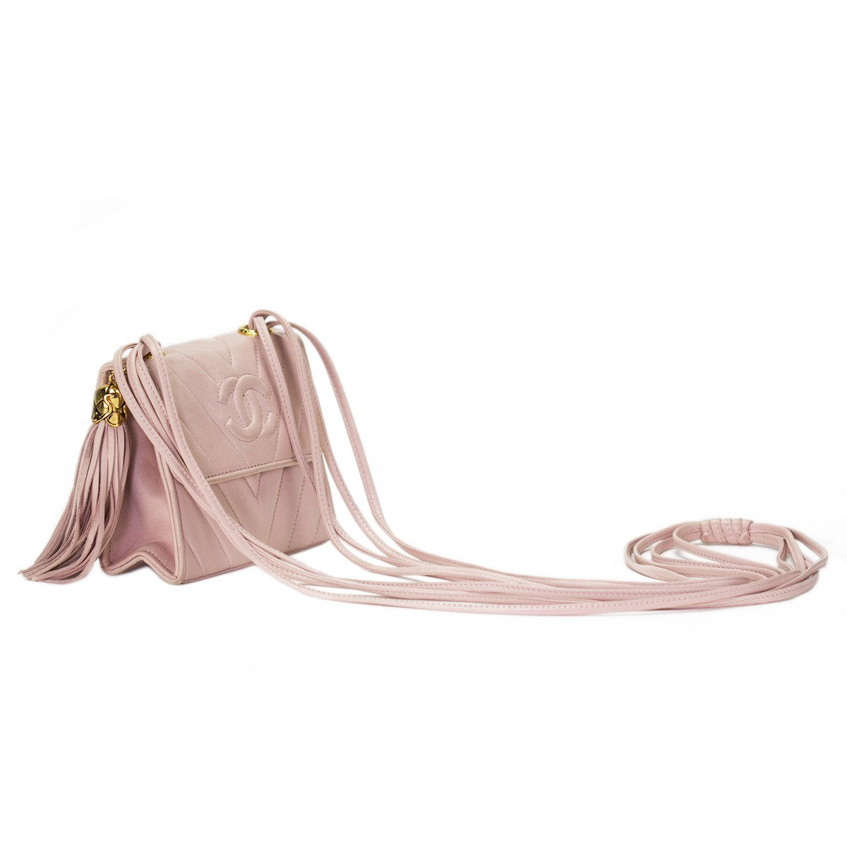 Chanel Soft Pink Chevron Fringe Lambskin Flap Bag