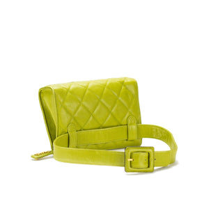Chanel Lime Caviar Quilted Vintage Fanny Pack