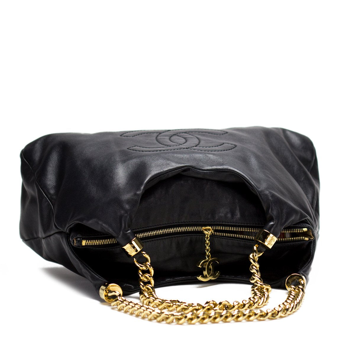 Chanel Thick Chain Calfskin Hobo Tote