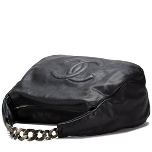 Chanel Antique Chain Pebbled Calfskin Satchel Hobo