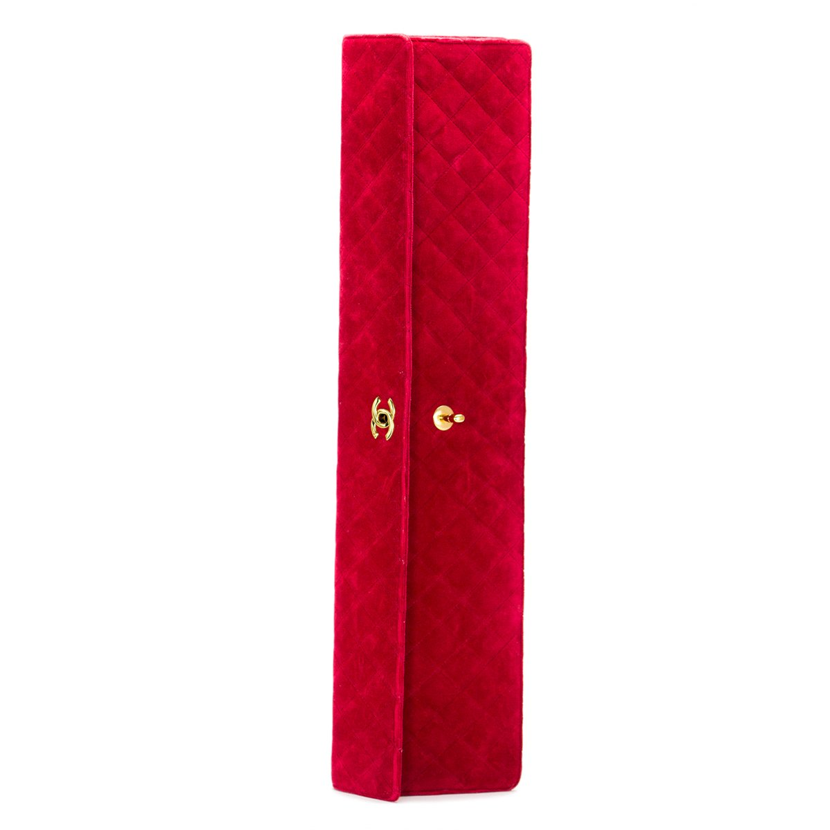 Chanel 80's Red Velvet Elongated Vintage Clutch