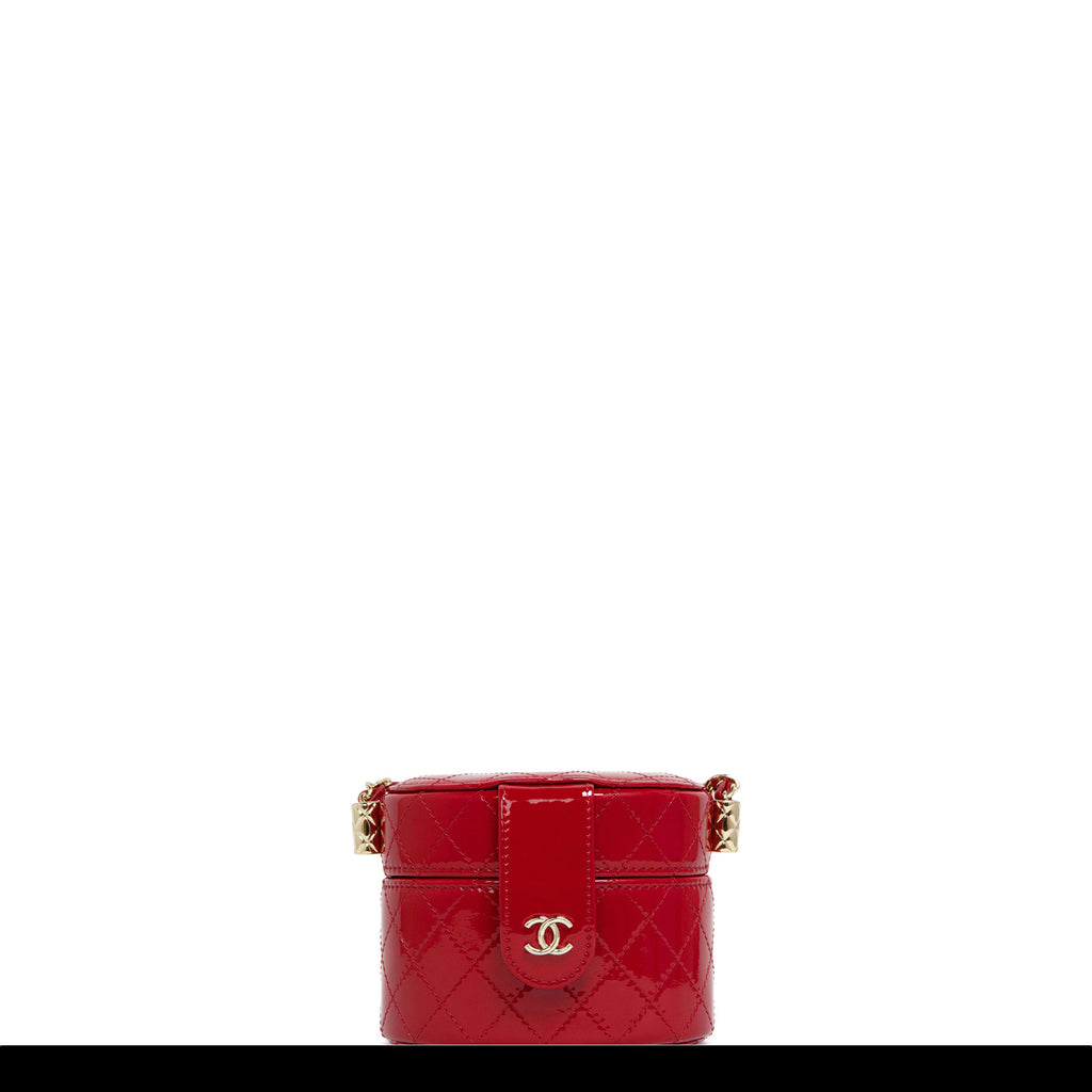Chanel Micro Mini Red Quilted Patent Leather Jewelry Box Crossbody Bag