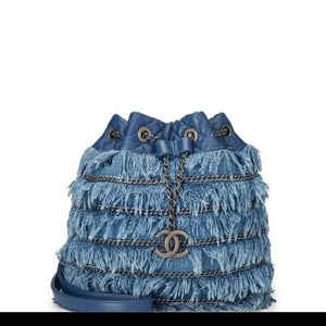 Chanel Drawstring Bucket Cruise 2015 Tweed Fringe & Lambskin Mini Blue Denim Shoulder Bag