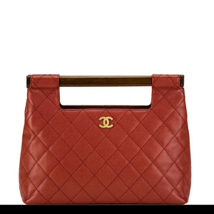 Chanel Deep Red Caviar Quilted Clutch Tote