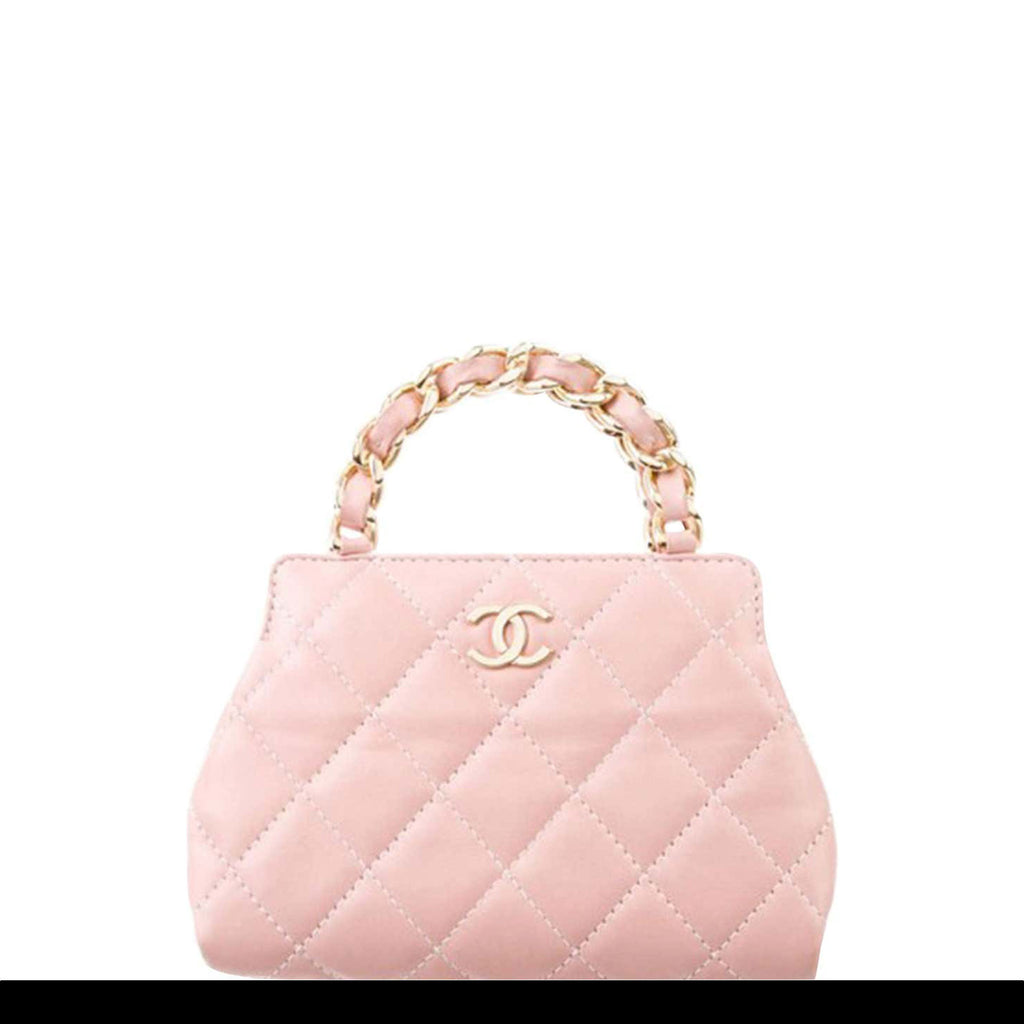 Chanel Micro Mini Top Handle Satchel Baby Pink Calfskin Leather Clutch