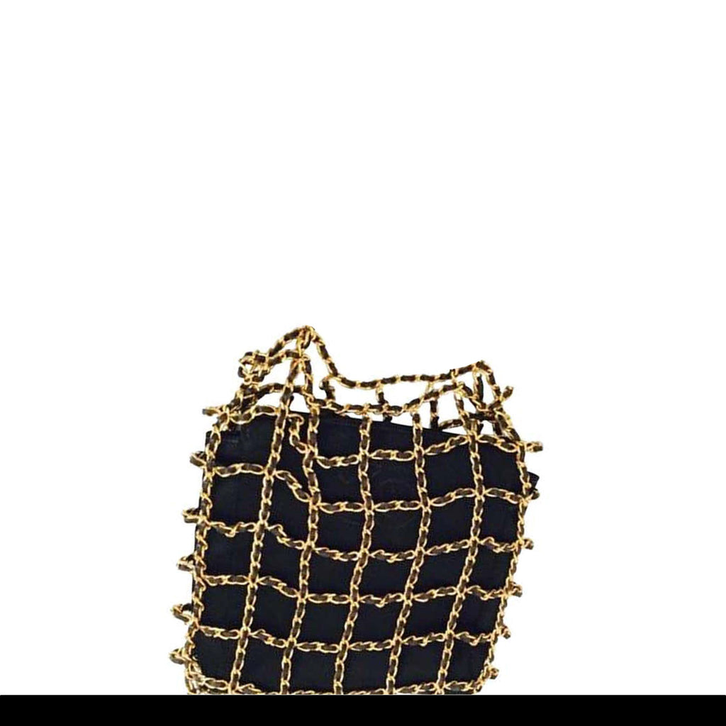 Chanel Minaudière Clutch Rare Vintage Micro Mini Woven Chain Black Satin Satchel