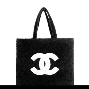Chanel Timeless Cc Towel Black Terry Cloth Beach Bag