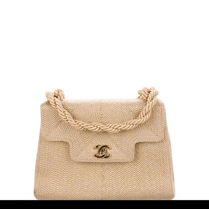 Chanel Classic Flap Vintage Woven Organic Nude Beige Raffia Cloth Blend Bag