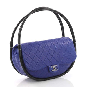 Chanel Rare Blue Medium Hula Hoop Quilted Lambskin Bag