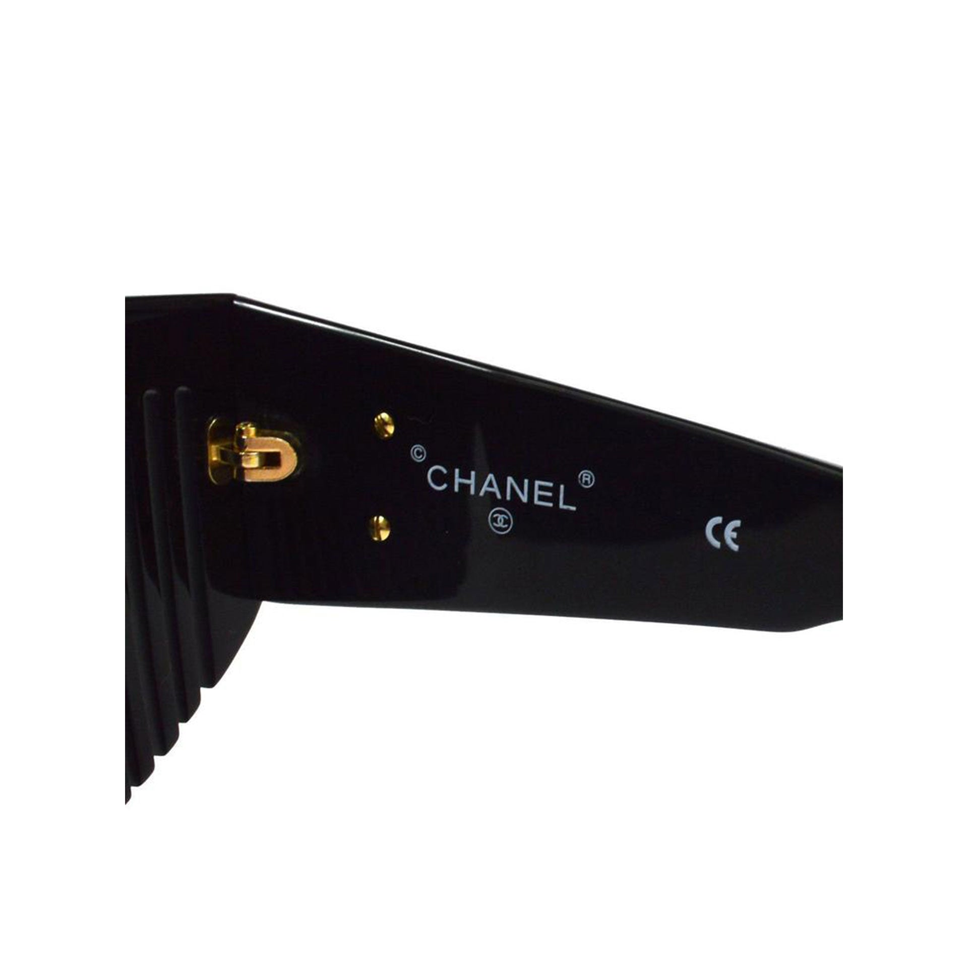 Black Chanel Vintage Comb Sunglasses
