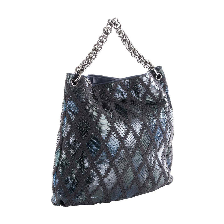 Chanel Modern Thick Chunky Chain Exotic Python Metallic Blue Hobo Slouchy Tote