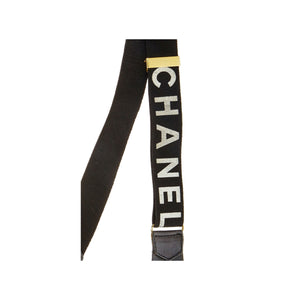 Chanel Black Vintage Logo Suspenders