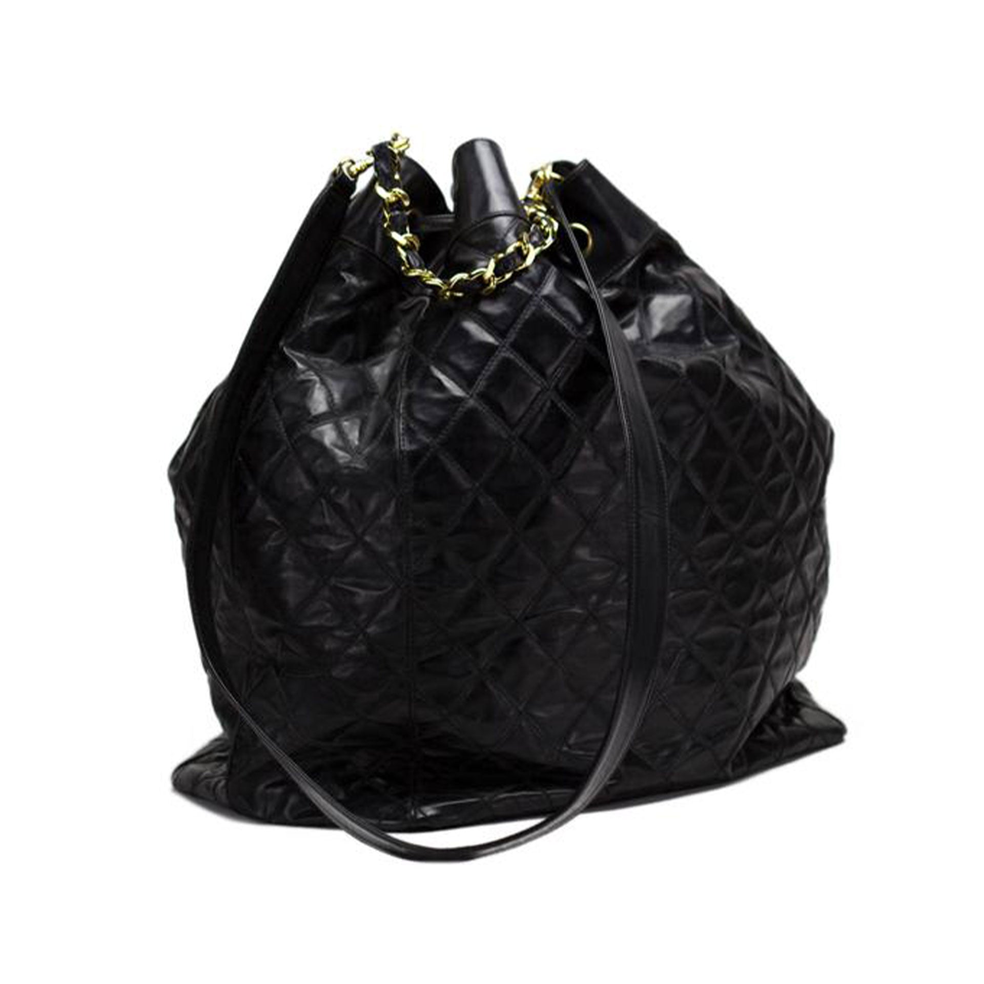 Chanel Drawstring Bucket Jumbo Quilted Black PVC Bag