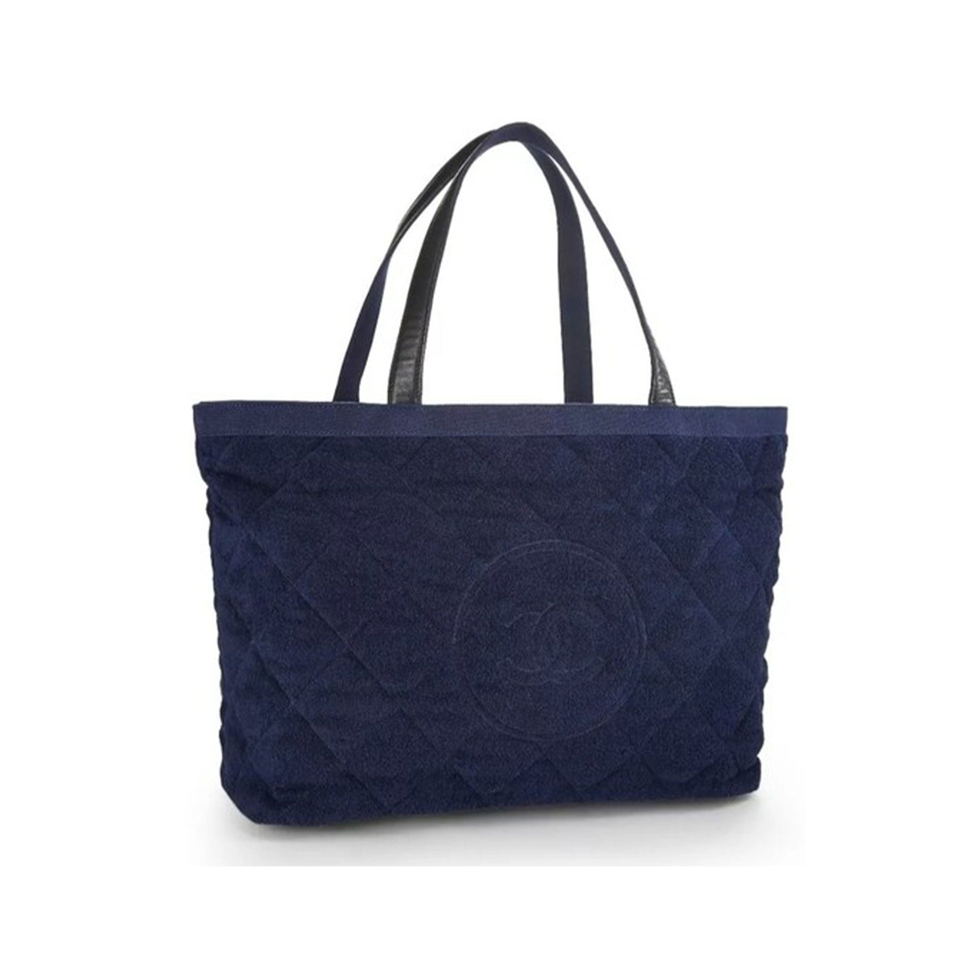 Chanel Timeless Tote XL Navy Blue Beach Bag