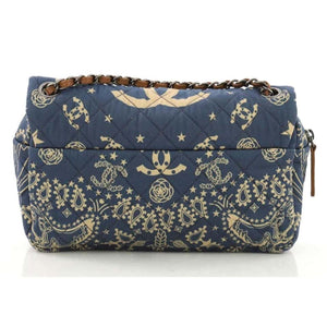 Chanel Paris-Dallas Bandana Medium Blue & Beige Quilted Classic Flap Canvas Bag