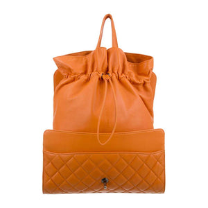 Chanel Mandarin Orange Shopper Drawstring Flap Bag