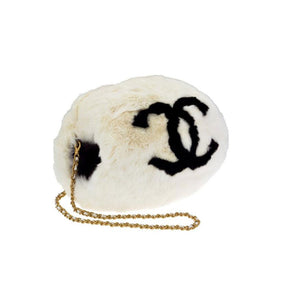 Chanel Cc Logo Muff Vintage Rare Limited Edition White Fur Satchel