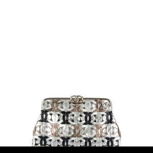Chanel Laser Etched Multi CC Limited Edition Metallic Silver Bronze Gold Clutch