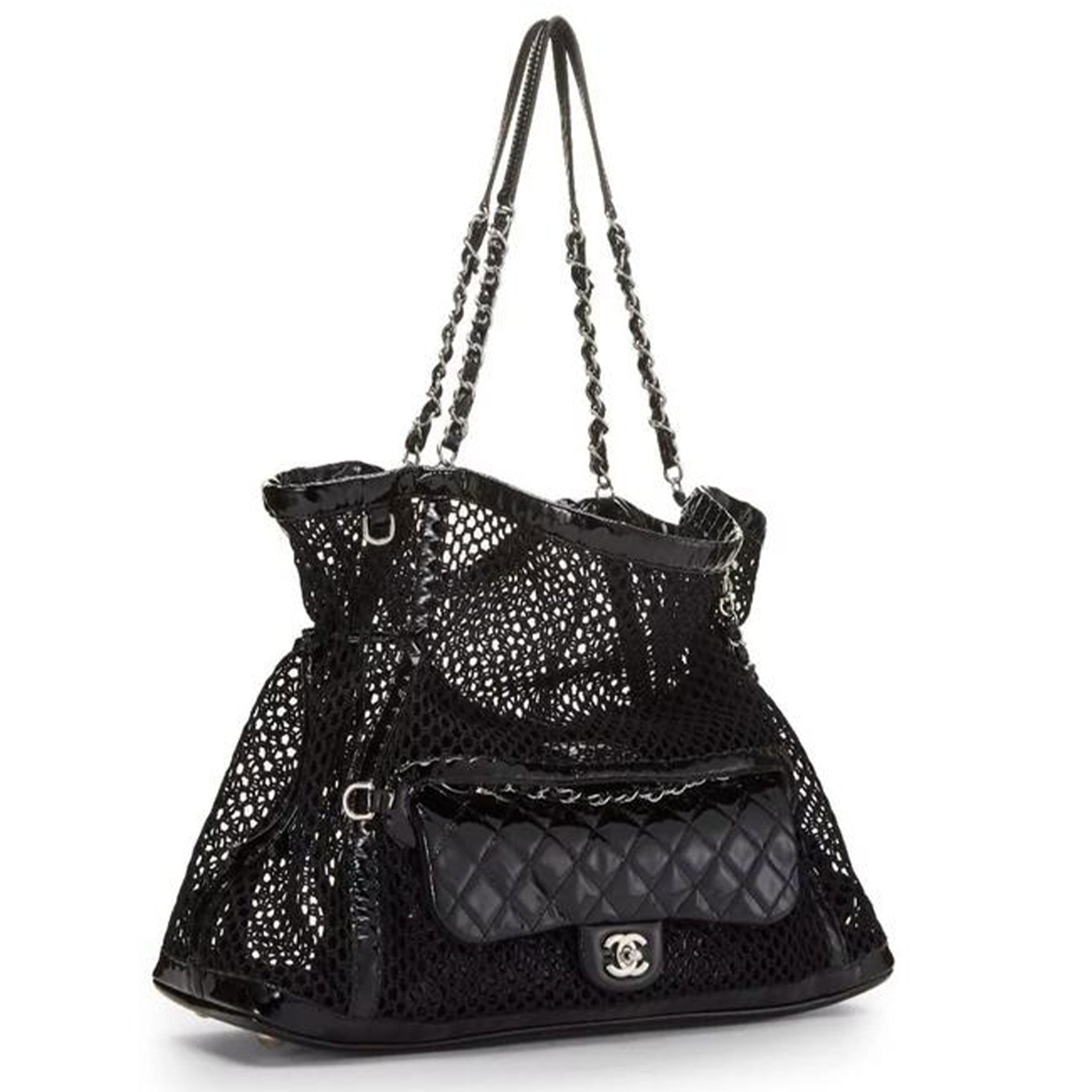 Chanel Shopping Classic Flap Cruise Mesh Woven Crochet 2 In 1 Black Patent Leather and Nylon Tote