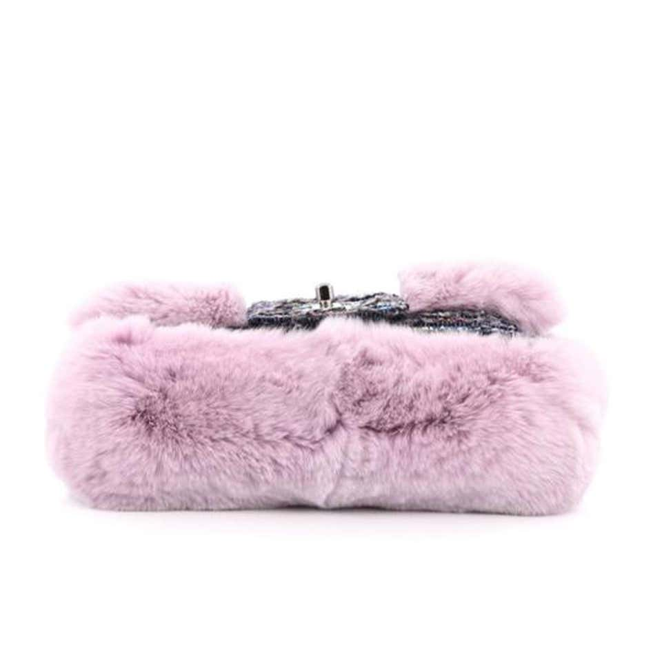 Chanel Classic Flap Vintage 2000s Pink & Grey Tweed and Fur Cross Body Bag