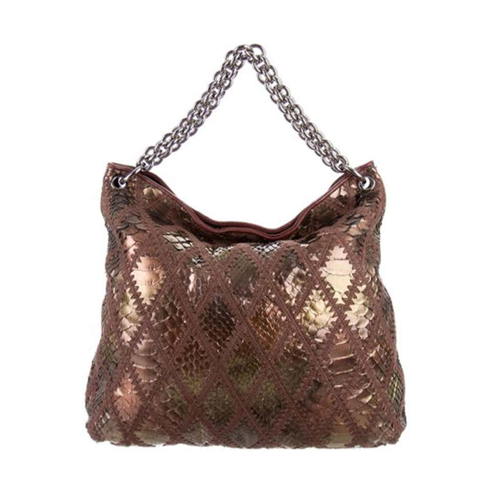 Chanel Handbag Clutch Rare Exotic Large 2 In 1 Tote & Metallic Bronze Hobo Bag