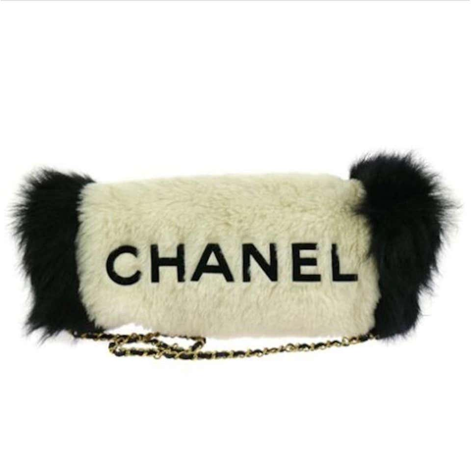 Chanel Logos Hand Warmer with Chain Strap Muff White Faux Fur Cross Body Bag