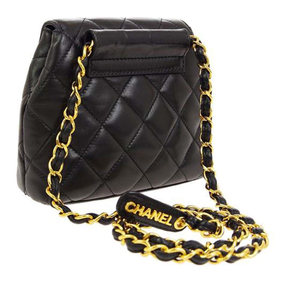 Chanel Bum Rare Vintage Mini 1997 Fanny Pack Waist Belt Pouch Black Lambskin Bag
