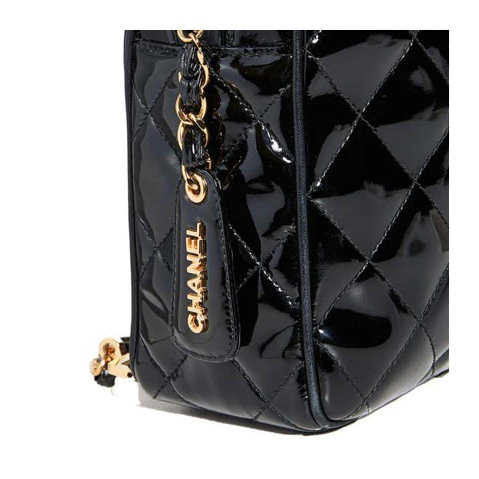 Chanel Box Cc Vintage 90's Black Patent Leather Backpack