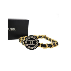 Chanel Black and Gold Rare Logo Swarovski Enamel Vintage 90's Runway Necklace