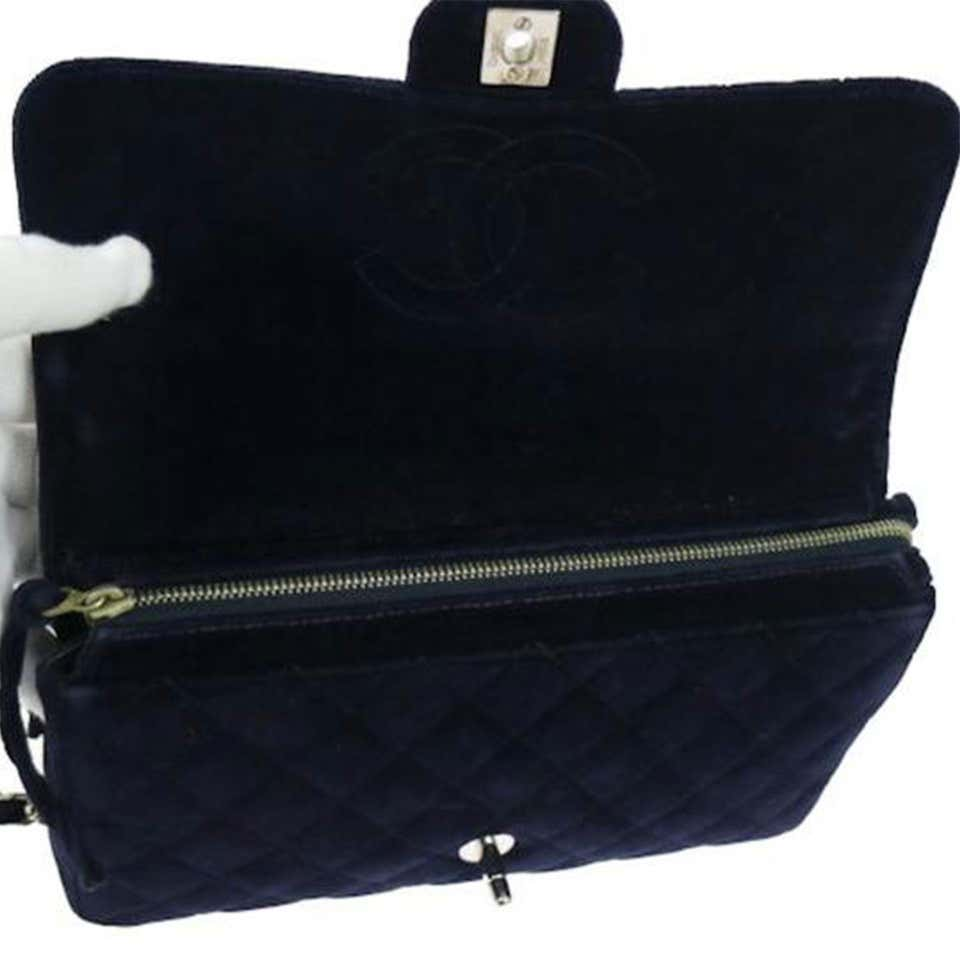 Chanel Vintage 90's Diamond Quilted Navy Blue Velvet Backpack