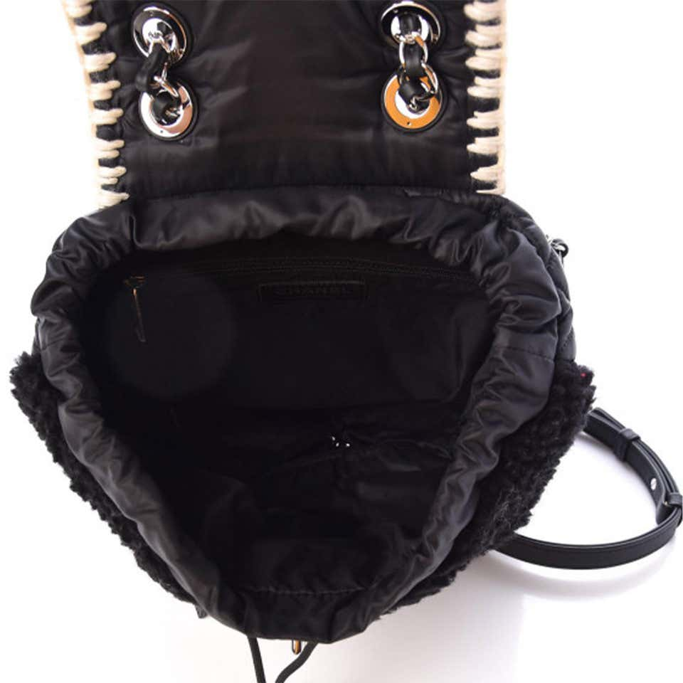 Chanel Wool Nylon Quilted Coco Neige Black Backpack